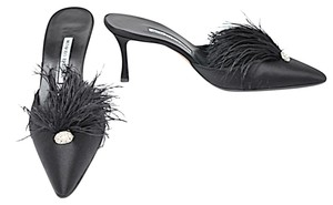 Manolo Blahnik Satin Dressy Feather Black Mules