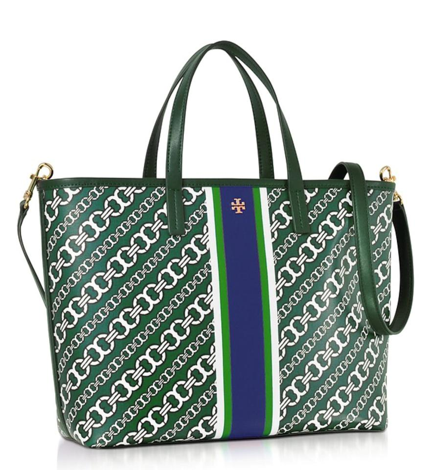 7c8b6c0a457 Tory Burch Gemini Link Bias Green Water-resistant Coated Canvas Tote ...