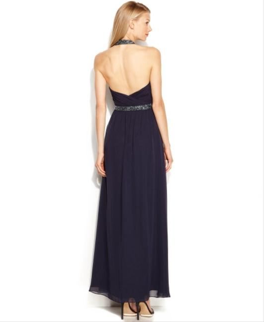 Calvin Klein Elegant Evening Gown Beading Bling Chiffon Backless Halter Sweetheart Rouched Gathered Timeless Vintage Floorlength Dress