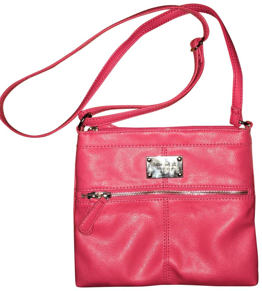 Nine West With Silver Zippers Pink Leather Cross Body Bag 53 Off Retail