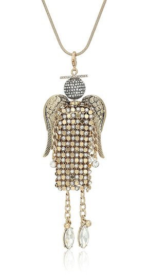 Betsey Johnson Two-Tone Pavé Mesh Angel Pendant Necklace