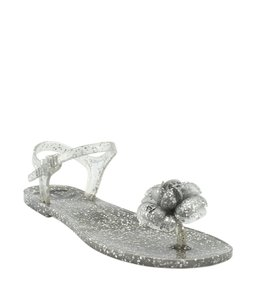 Chanel Xrubber Silver Sandals