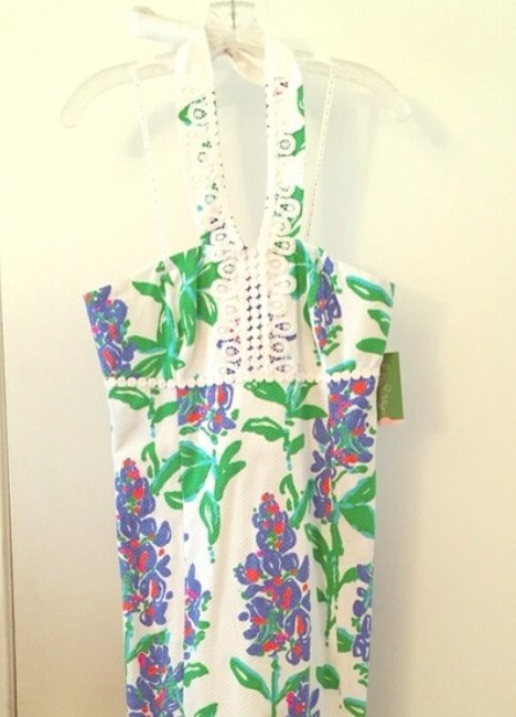 Lilly Pulitzer short dress White blue green Halter Lace Floral on Tradesy
