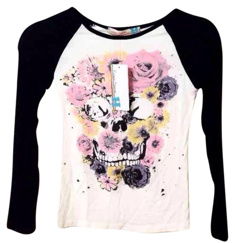 Vintage havana sugar skull flower bones festival retro for Retro long sleeve t shirts