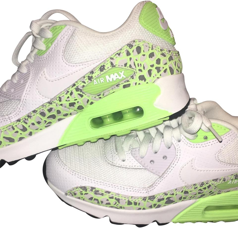 hot sale online e29c5 69d02 Nike White Black and Lime Green Air Max Sneakers