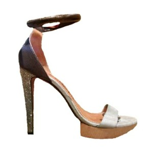 Lanvin Ankle Strap Platforms Heels Rhinestone Leather Gray Brown Pumps