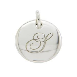 "Tiffany & Co. Sterling Silver Round Tag Note Letter ""Y"" Pendant"