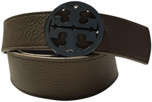 Tory Burch Grey Saffiano leather Tory Burch Reva logo belt