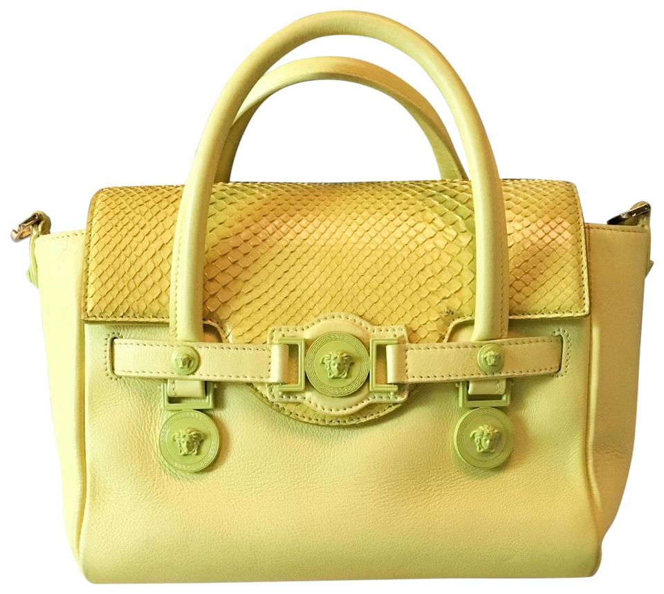 1a2281f7d5 Versace Signature Python Medusa Yellow Leather   Snakeskin Satchel ...