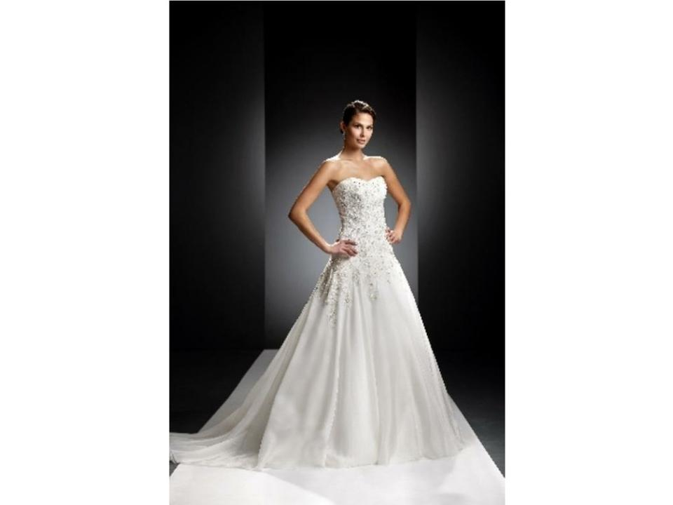 Oleg Cassini Light Ivory Chiffon Beaded Lace Romantic Ball Gown ...