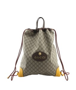 Gucci Gucci Soft GG Supreme Canvas & Yellow Leather Backpack (140784)