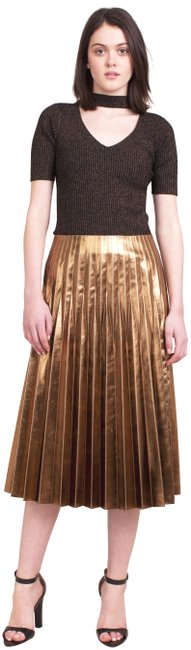 Item - Gold Katya Metallic Pleated Skirt Size 4 (S, 27)