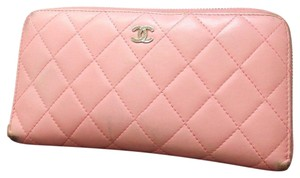 Chanel Chanel Pink lambskin quilted Continental long bifold wallet