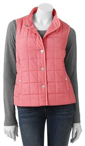 Croft & Barrow Coat Vest Dot Coral (Pink with white polka dots) Jacket