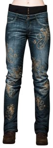 Bogner Malena Ski Jeans Denim Blue with Gold Embroidery
