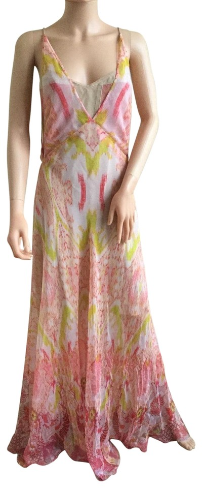 8b4e2083f32f Roberto Cavalli Pink Coral Abstract Print Silk Gown Long Casual Maxi ...