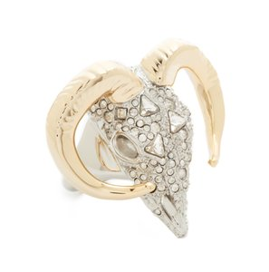 Alexis Bittar $275 ALEXIS BITTAR Crystal Encrusted Horned RAM RING size 6 Gold Silve
