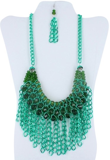 Other Green Blue Chain Crystal Accent Necklace and Earring