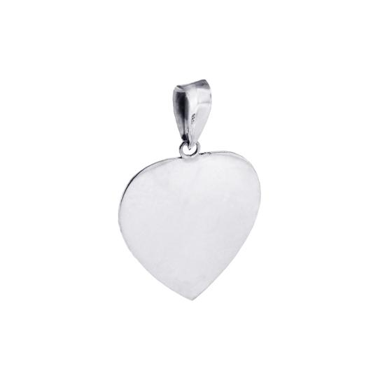 NY Collection Womens Large Vintage Heart Pendant Oxidized 925 Sterling