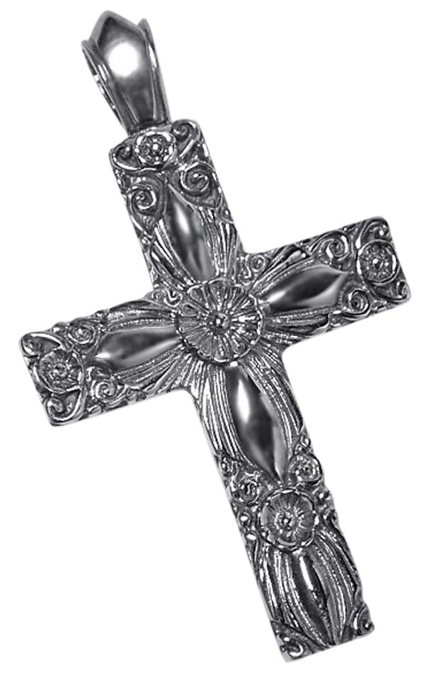 NY Collection Silver Mens Womens Vintage Filigree Religious Cross Pendant  925 Sterling Necklace 57% off retail