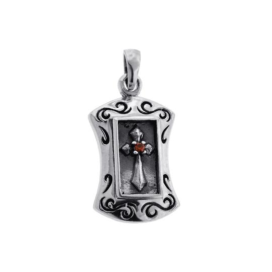 NY Collection Mens Womens Religious Cross Tag Medallion Pendant Oxidized Sterling