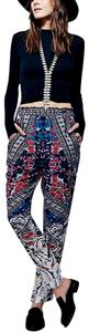 Free People Romantic New Fp Harem Joggers Long Maxi Wildflower Bohemian Hippie Skinny Pants Blue Black Purple Flowers