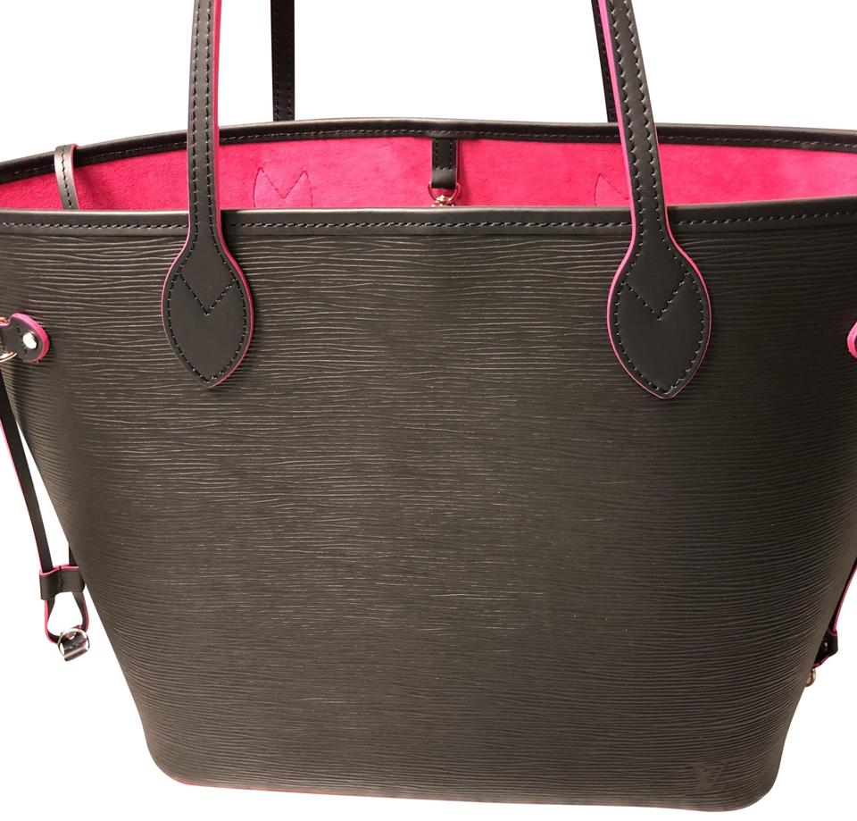 b2554f9c34ff Louis Vuitton Neverfull Lining Epi Black   Pink Leather Tote - Tradesy