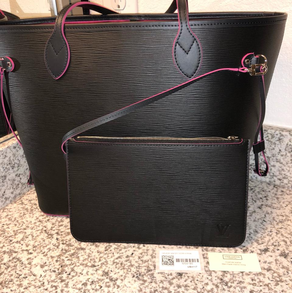 13a18f08c058 Louis Vuitton Neverfull Lining Epi Black   Pink Leather Tote - Tradesy
