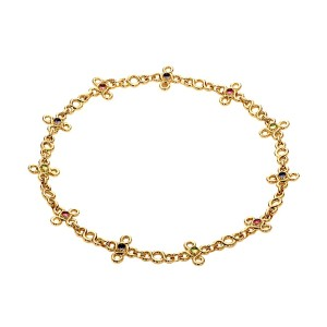Chanel Chanel Gemstone Gold Choker Necklace