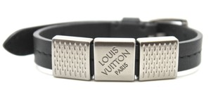 Louis Vuitton #16165 Damier logo black leather bracelet