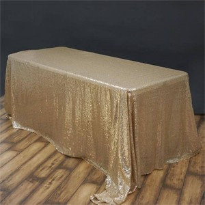 "Champagne Sequin 90x132"" Rectangle Tablecloth"