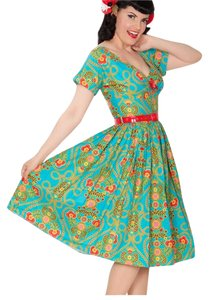Bernie Dexter short dress Teal/Floral Vintage 50's Pin Up Rockabilly on Tradesy