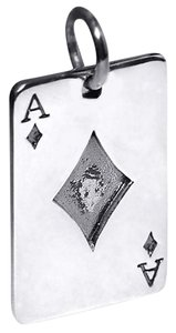 NY Collection Mens Womens Vintage Playing Card Poker Ace Pendant Oxidized Sterling