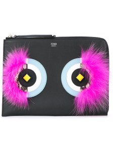 Fendi Monster Eye Bug Python Pouch black Clutch