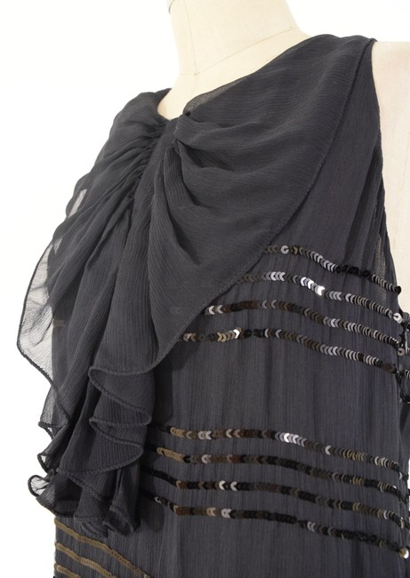 RED Valentino Crinkled Striped Sequin Draped Top Black
