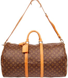 Louis Vuitton Canvas Leather Duffle Keepall 55 Brown Monogram 5515 Travel Bag