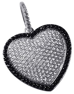 NY Collection Womens Black White CZ Heart Shape Pendant 925 Sterling
