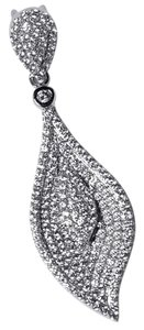 NY Collection Womens White CZ Journey Leaf Floral Drop Pendant 925 Sterling Silver