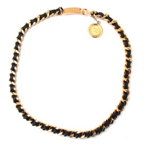 Chanel #16227 CC wide black leather through long chain gold necklace belt