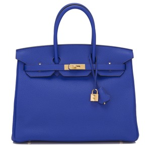 Hermès 35cm Gold Hardware Satchel in Blue Electric