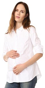 Rosie Pope Classic Shift Maternity Button Down Shirt Light Pink