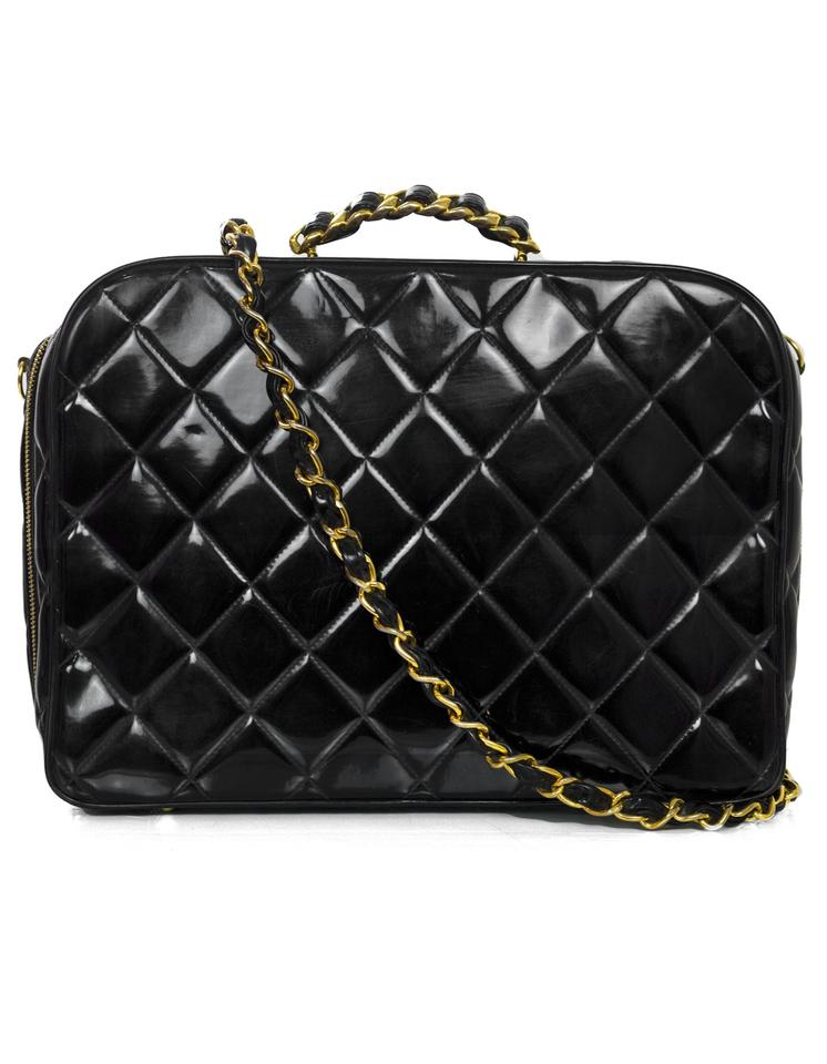 24f6f6eefbc9 Chanel Vintage Quilted Black Patent Leather Weekend Travel Bag - Tradesy