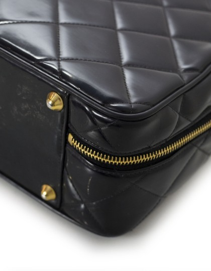 Chanel Vintage Cosmetic Quilted Patent Black Travel Bag