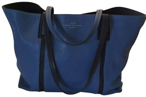 Smythson Leather Soft Tote in Blue