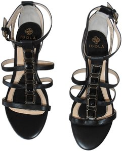 Isola Jeweled Jeweled Heel Ankle Strap New Without Box Black Sandals