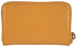 Gucci NEW Gucci 255452 Yellow Patent Leather Micro GG Guccissima Zip Wallet