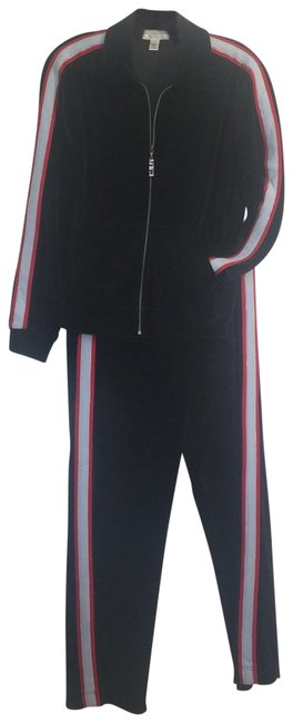 Item - Black -light Blue & Red Piping Velour Warm-up Pant Suit Size 6 (S)