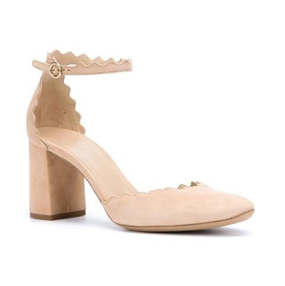 cc3970f014a0 Chloé Nude Lauren Scalloped Suede Pumps. Size  US 5 Regular (M ...