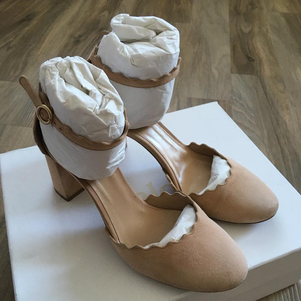 eea94e1a0038 Chloé Nude Lauren Scalloped Suede Pumps Size US 5 Regular (M