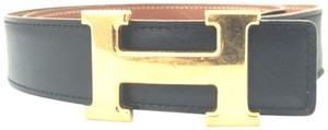 Herms #16234 32Mm Gold H Belt Size 65 Reversible leather